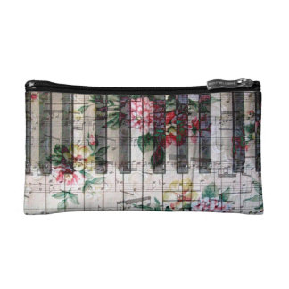 vintage floral piano keyboard makeup bag
