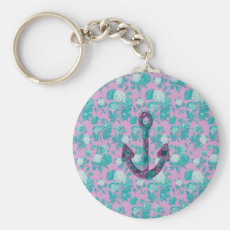 Vintage Floral Pink and Blue Anchor Keychains