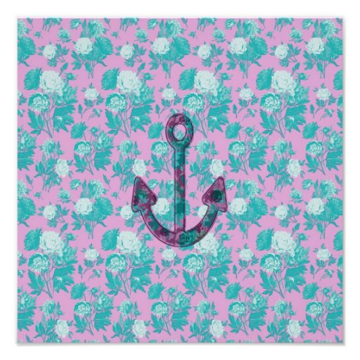 Vintage Floral Pink and Blue Anchor Photograph