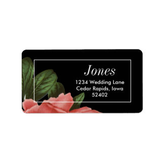 Vintage Floral | Pink Black & White Address Label