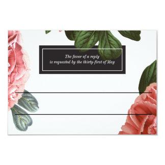 Vintage Floral   Pink Black & White Card