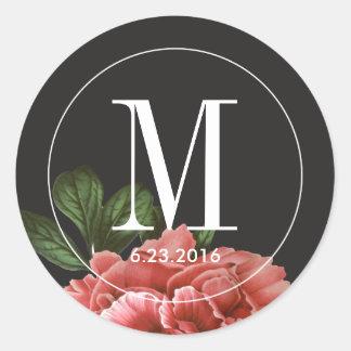 Vintage Floral   Pink Black & White Classic Round Sticker