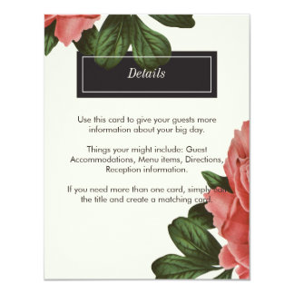 Vintage Floral | Pink Black & White Insert Card 11 Cm X 14 Cm Invitation Card