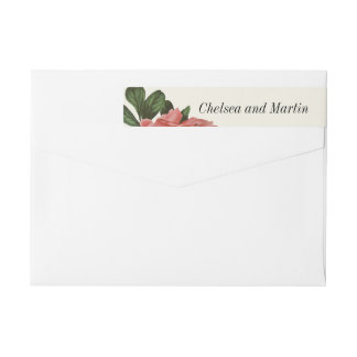 Vintage Floral | Pink Black & White Wraparound Return Address Label