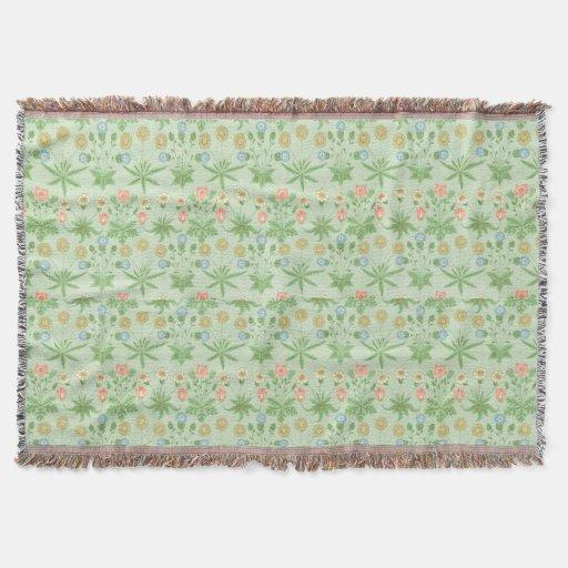 Vintage Floral Pink Blue William Morris Daisy Throw Blanket