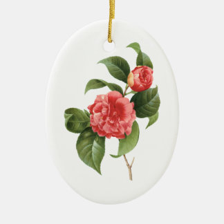 Vintage Floral, Pink Camellia Flowers by Redoute Christmas Ornament