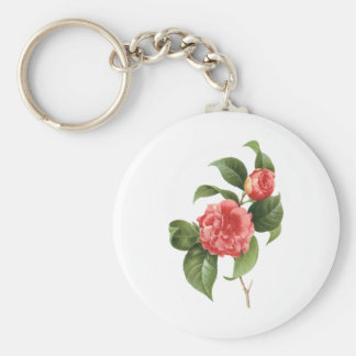 Vintage Floral, Pink Camellia Flowers by Redoute Key Ring
