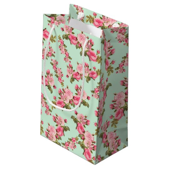 Vintage Floral Pink Camellia Flowers Pretty Small Gift Bag