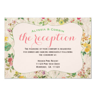 Vintage Floral Pink Elegant Wedding Reception Card