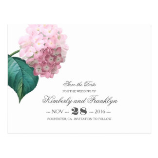 Vintage Floral Pink Hydrangea Save the Date Postcard