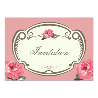 Vintage floral pink multipurpose invitation card