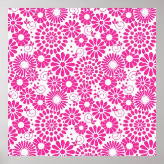Vintage floral pink Poster