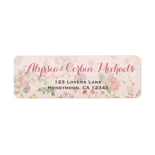 Vintage Floral Pink Romantic Elegant Wedding Return Address Label