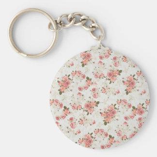 Vintage Floral Pink Rose Flowers Basic Round Button Key Ring
