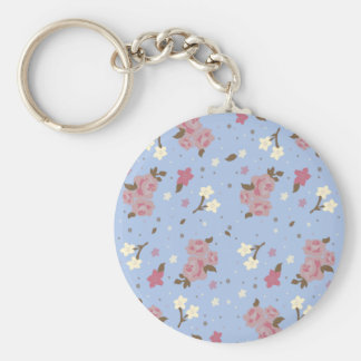 Vintage Floral Pink Roses on baby blue Key Chain