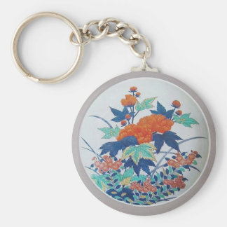 Vintage  Floral Plate Basic Round Button Key Ring