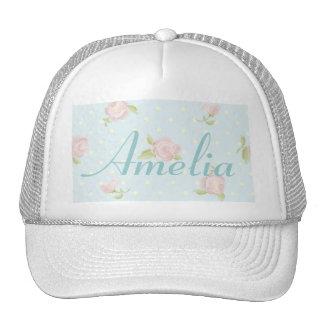 vintage floral polka dot blue red white shabby cap