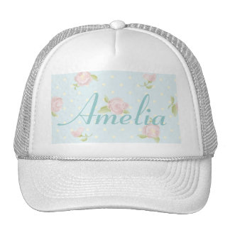 vintage floral polka dot blue red white shabby trucker hats