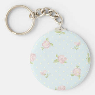 vintage floral polka dot blue red white shabby key chains