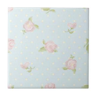 vintage floral polka dot blue red white shabby ceramic tiles