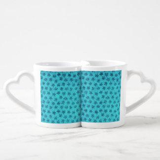 Vintage Floral Powder Blue Teal Violets Lovers Mug Sets