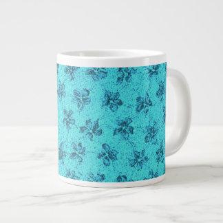 Vintage Floral Powder Blue Teal Violets Extra Large Mugs