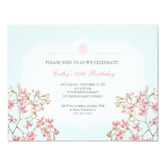 Vintage Floral Purple Damask Adult Birthday Party Card