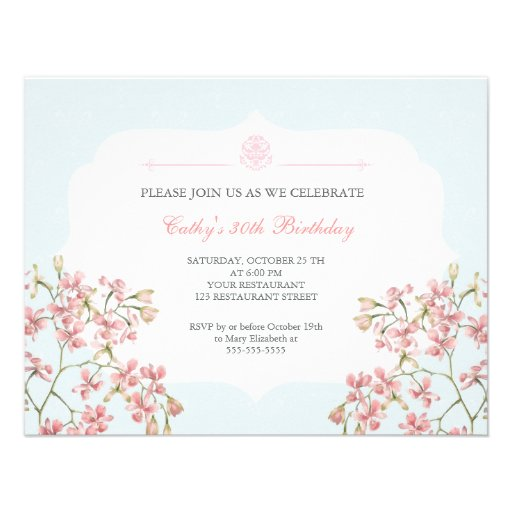 Vintage Floral Purple Damask Adult Birthday Party Invitations