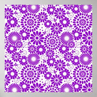 Vintage floral purple Poster