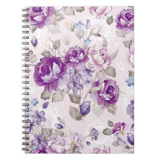 Vintage Floral Purple Rose Lavender Flowers Spiral Note Book