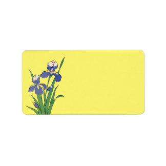 Vintage Floral, Purple Spring Garden Iris Flowers Address Label