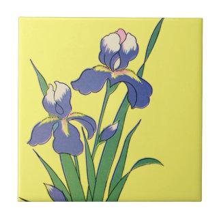 Vintage Floral, Purple Spring Garden Irises Tile