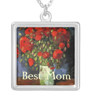 Vintage floral Red Poppies, best mom Silver Plated Necklace