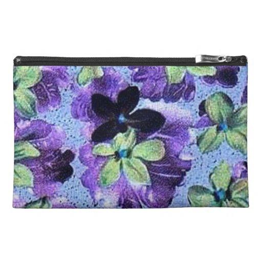 Vintage Floral Retro Flowers Violets Purple Green Travel Accessories Bags