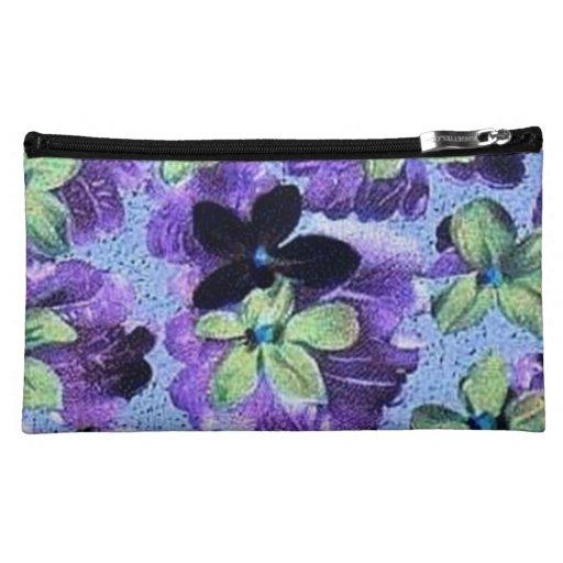 Vintage Floral Retro Flowers Violets Purple Green Makeup Bag