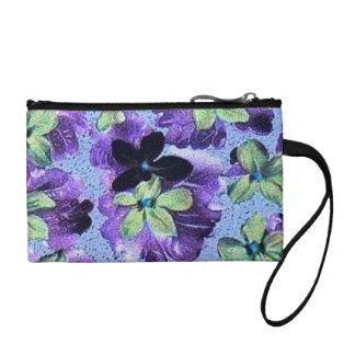 Vintage Floral Retro Flowers Violets Purple Green Coin Wallets