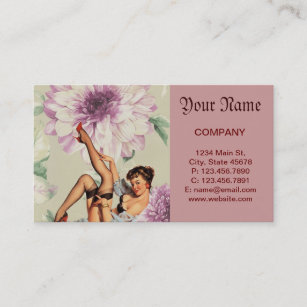 Vintage pin up girl business cards business card printing zazzle uk vintage floral retro pin up girl business card colourmoves