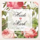 Vintage Floral Romance Pink Roses Square Paper Coaster