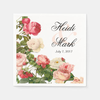 Vintage Floral Romance Pink Roses | white Disposable Napkin