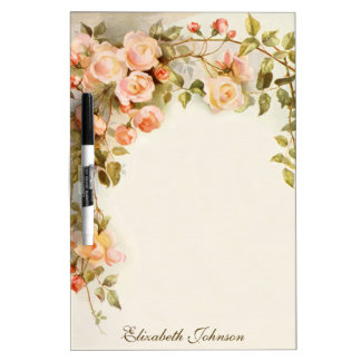 Vintage Floral, Romantic Antique Pink Rose Flowers Dry Erase Board
