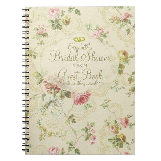 Vintage Floral Romantic Bridal Shower Guest Book- Note