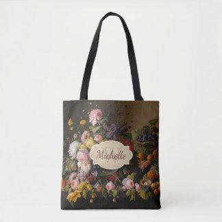 Vintage Floral Rose Art Monogram & Name Tote Bag