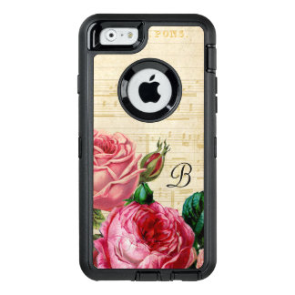 Vintage Floral Rose Monogram OtterBox Defender iPhone Case