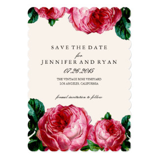 "Vintage Floral Rose Save the Date 5"" X 7"" Invitation Card"