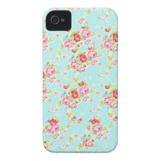 Vintage floral roses blue shabby chic rose flowers iPhone 4 cases