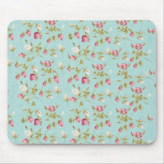Vintage floral roses blue shabby chic rose flowers mouse mat