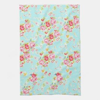 Vintage floral roses blue shabby chic rose flowers tea towel