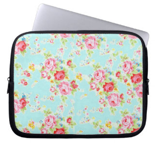 Vintage floral roses blue shabby rose flowers chic laptop sleeve