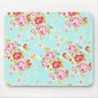Vintage floral roses blue shabby rose flowers chic mouse mat