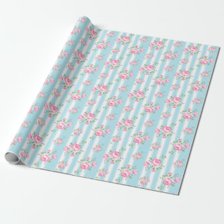 Vintage floral roses classic stripe light blue wrapping paper